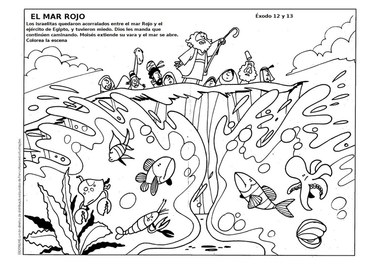 Pin by pamela ryan on bible class exodus quarter pinterest for Crossing the red sea coloring page