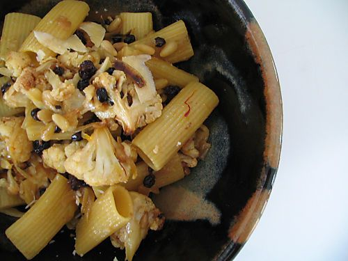 rigatoni with roasted cauliflower, saffron, currants, pine nuts ...