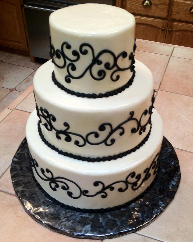 Black Swirls Wedding CAke