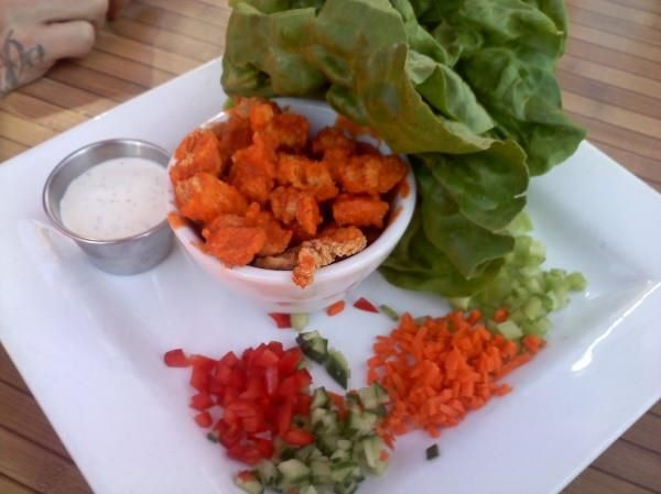 ... wraps w/ buffalo chicken, boston bibb lettuce, celery, carrots & blue