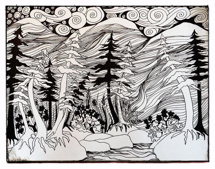 Zen Line Drawing : Great scenic tangle zentangle by shannon hatchman