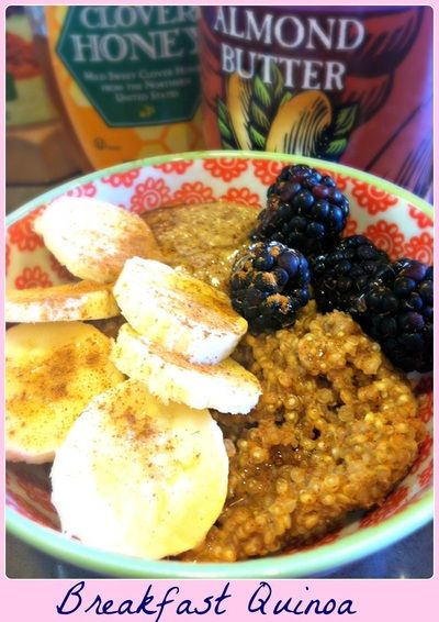 Breakfast Quinoa with Almond Butter, Honey, and Fruit