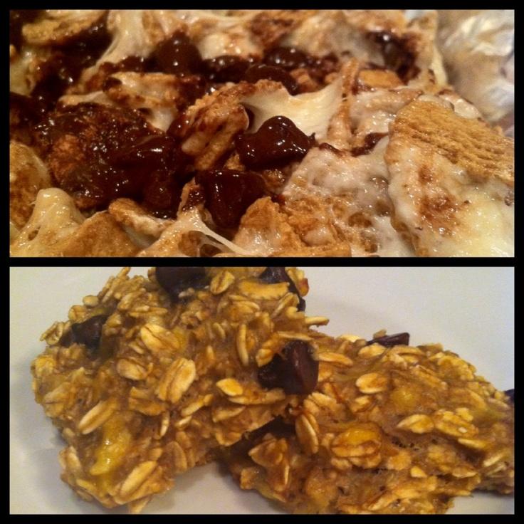 Top: Ooey gooey golden graham s'mores Bottom: healthy banana, rolled ...
