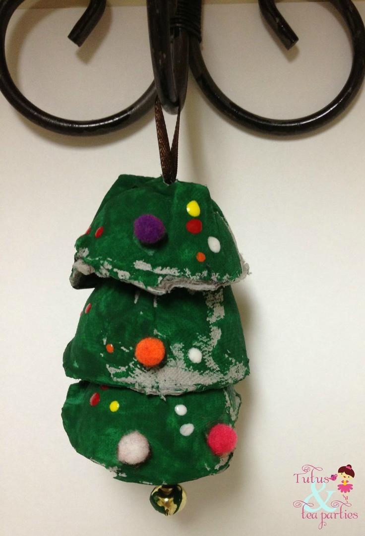 Egg carton christmas tree ornament crafts and activities for Egg carton christmas crafts