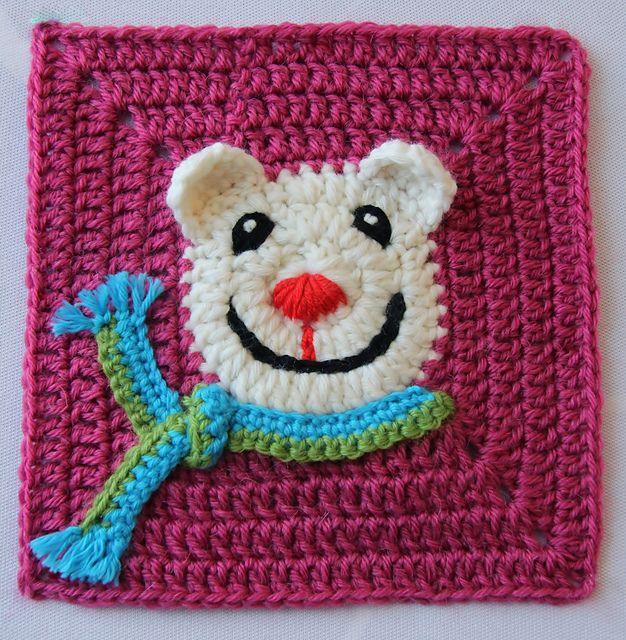 Funny Face Bear Square ~ free pattern Crochet Pinterest