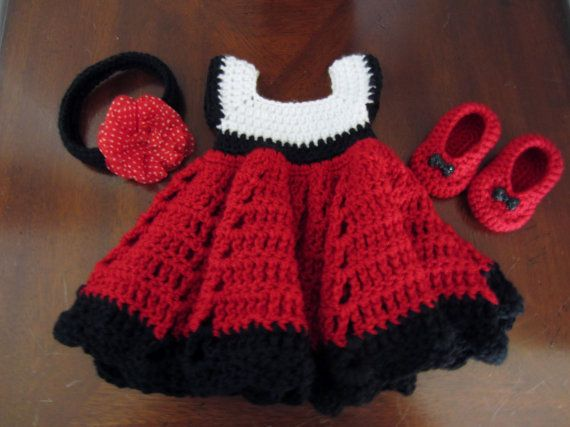 Free Crochet Pattern Minnie Mouse Shoes : Minnie Mouse inspired handmade crocheted dress with shoes ...