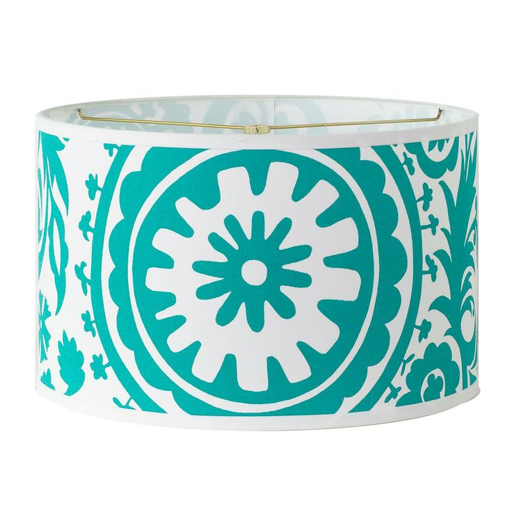turquoise and white suzani drum lamp shade. Black Bedroom Furniture Sets. Home Design Ideas
