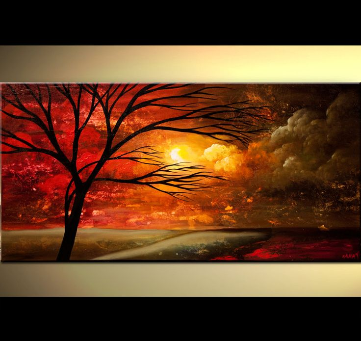 ORIGINAL Large Abstract Red Tree Painting Red Sunset Landscape Acrylic