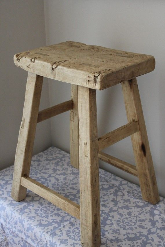 Rustic Reclaimed Wood Counter Stool