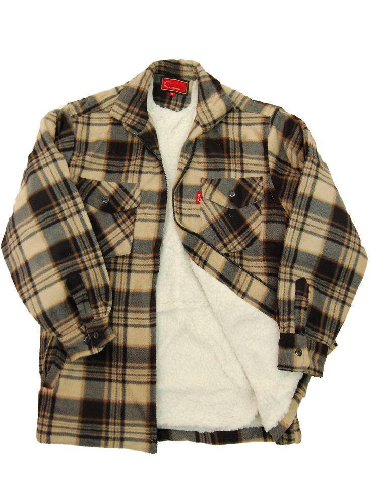 Fleece Fur Lined Mens Sherpa Quilted Lumberjack Work Shirt