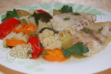 Морской язык с овощами в духовке рецепт