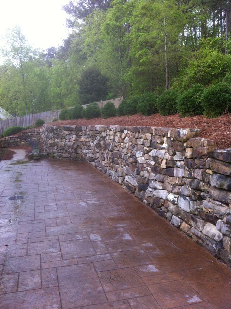 Stacked rock retaining wall Retaining wall Pinterest