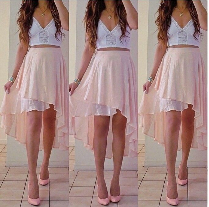 light pink high low skirt fashion