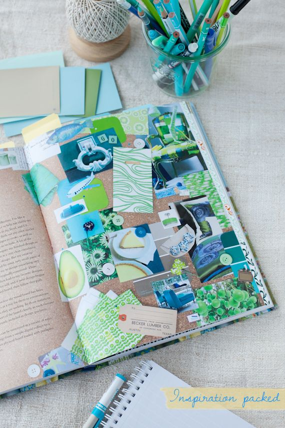 Inspiration board, from Mastering the Art of Fabric Printing and Design by Laurie Wisburn (via A Creative Mint)