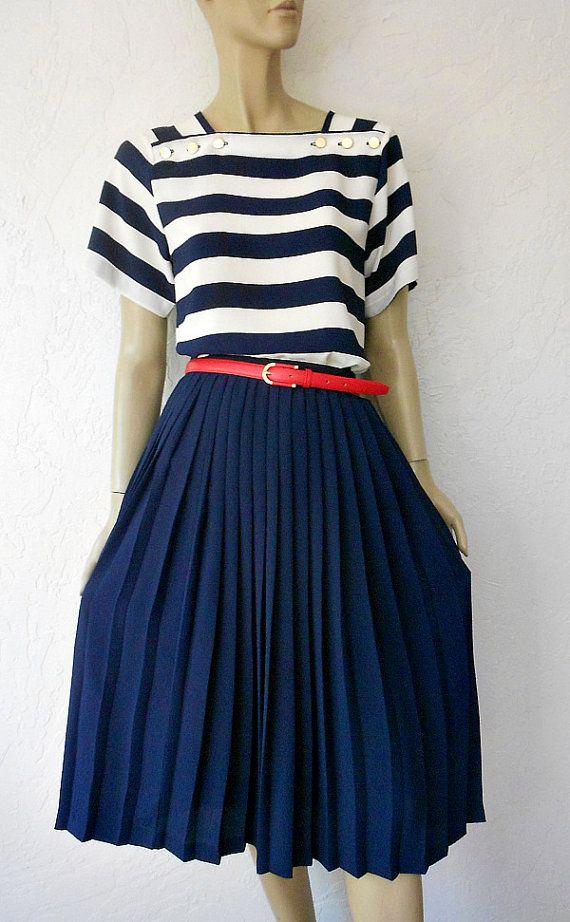 vintage skirt blouse 80 90 s navy blue box pleated skirt