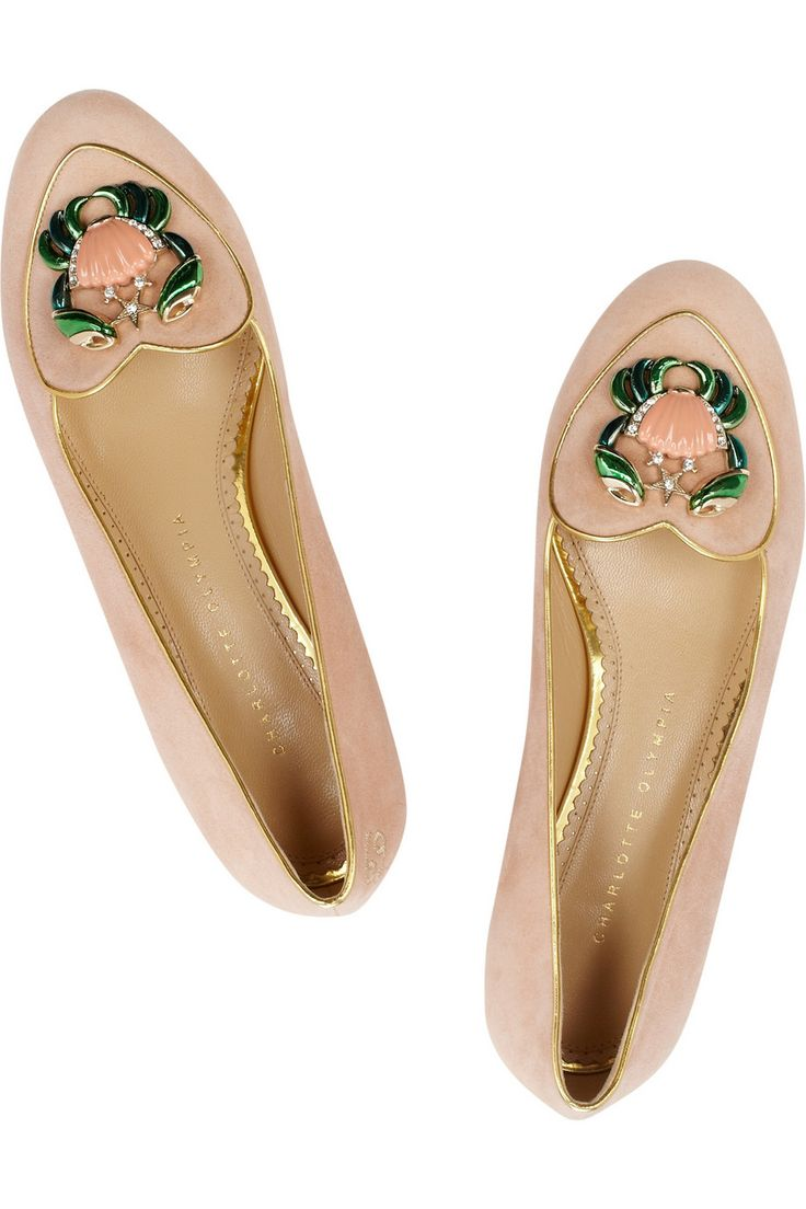 Charlotte Olympia | Cancer suede slippers | NET-A-PORTER.COM