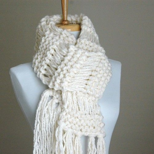 Loving Hands Knitting Patterns : Chunky Hand Knit Scarf Open Knit In Cream Winter White