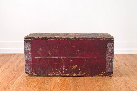 Vintage Distressed Wood Farmhouse Shop Trunk Coffee Table