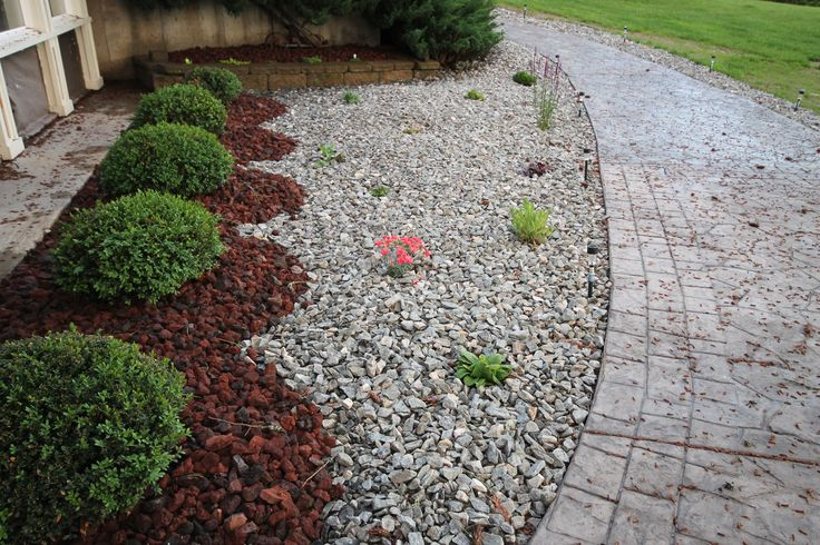 Rock garden love the two types of rock feathering the for Landscaping small spaces low maintenance