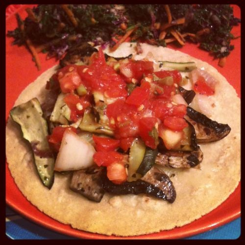 Portobello and Zucchini Tacos + Kale and Red Cabbage Slaw from our ...