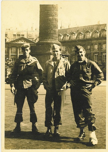 """John L. Bradner (Greensboro, NC), Mason B. Starring (of New Canaan, CT) and B. McDonald Austin (of Hilton Head, SC).  Taken in Paris, October 1944.    Bradner and Starring were with Jed Team """"Anthony"""" operating near Cluny in the Saone-et-Loire Department.    Austin was with Jed Team """"Ammonia"""" operating near Ste. Nathalene in the Dordogne (Aquitaine) area."""