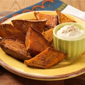 Roasted Sweet Potato Wedges with Cream Caramel Dip - New Year's Eve?