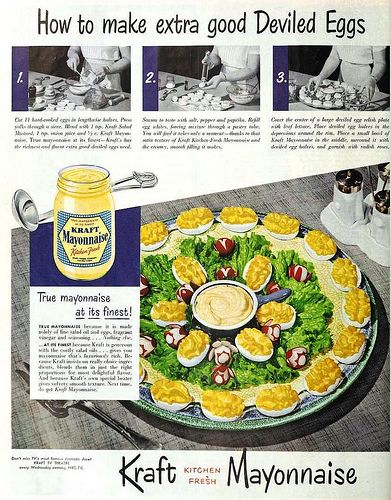 How to make extra good Deviled Eggs with Kraft Mayonnaise, June 1951
