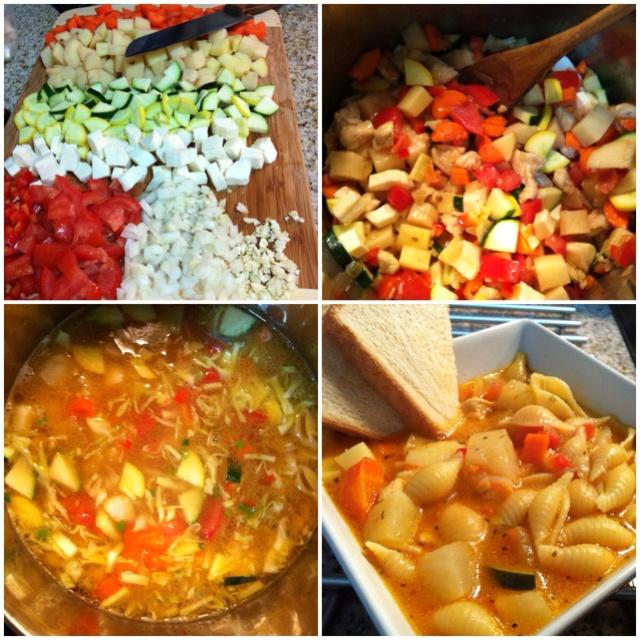 Soup: Carrot, potato, zucchini, squash, cassava, bell peppers, tomato ...