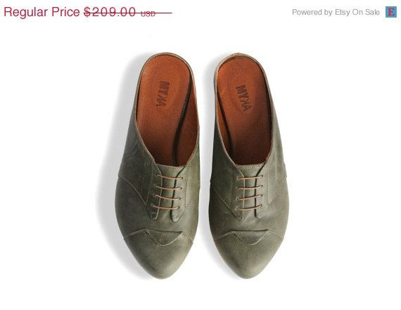 4th of July sale flat olive clogs, women leather shoes, olive shoes