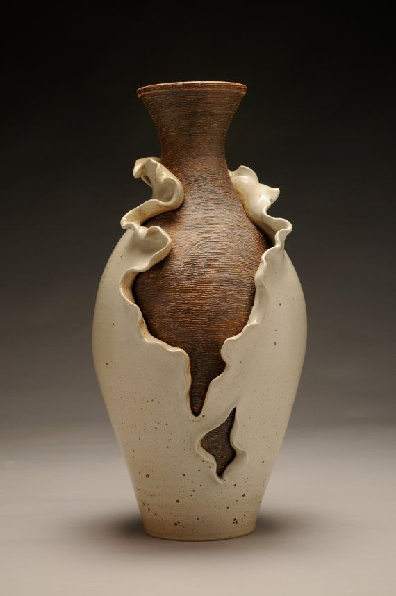 Unfurling Vase Glazed Ceramic Pottery 3D Design Pinterest