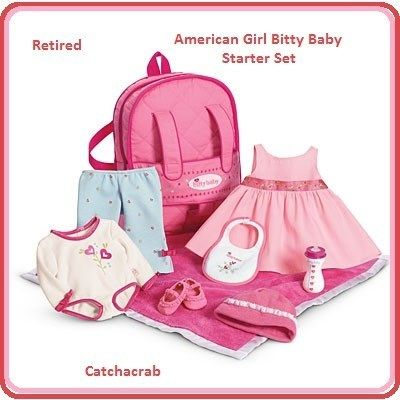 american girl doll bitty baby starter set 10 pieces pink backpack ret. Black Bedroom Furniture Sets. Home Design Ideas
