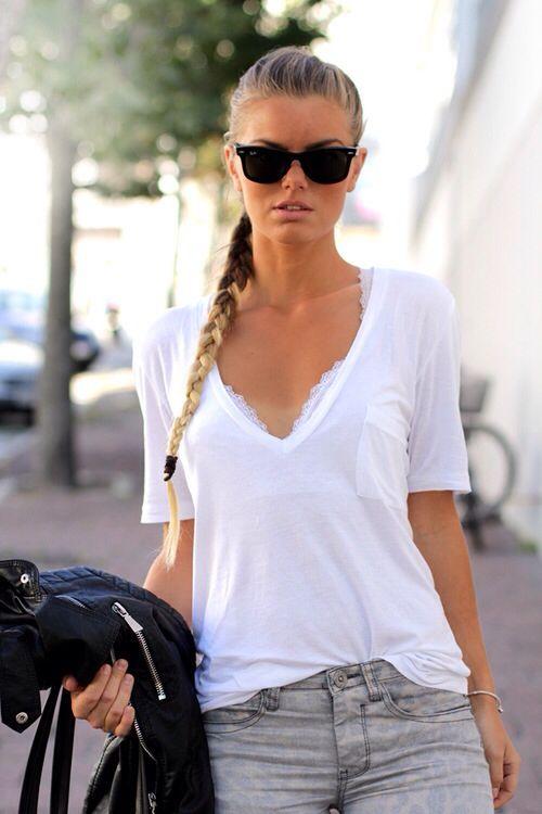 cute lace bra under a white t shirt