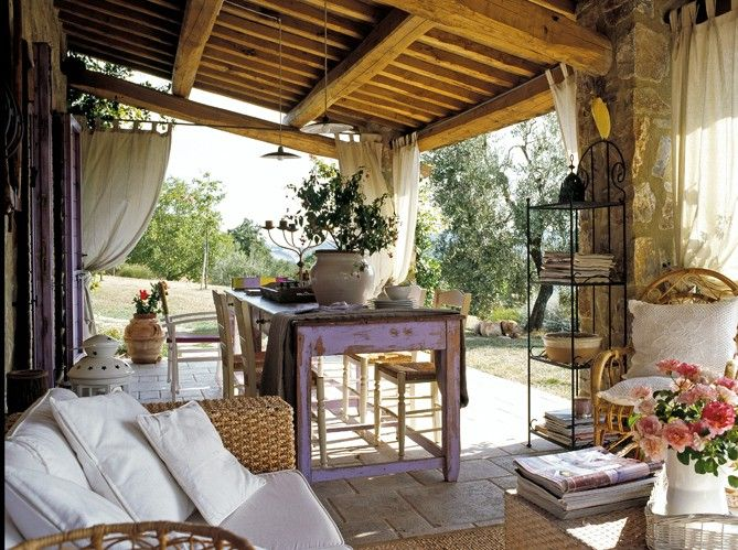 Rustic italian farmhouse style porch porches decks for Tuscan farmhouse decor