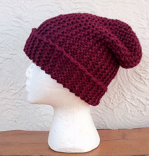Slouchy Knitted Hat Pattern Easy : Simple Slouchy Hat knitting Pinterest
