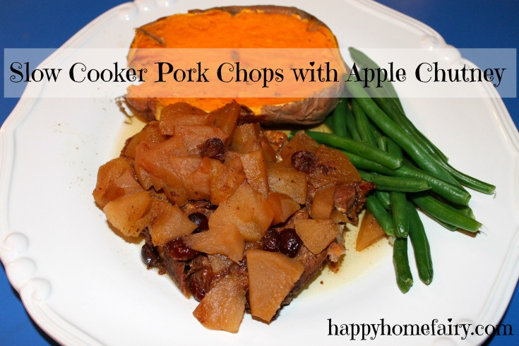 slow cooker pork chops with apple chutney at happyhomefairy.com