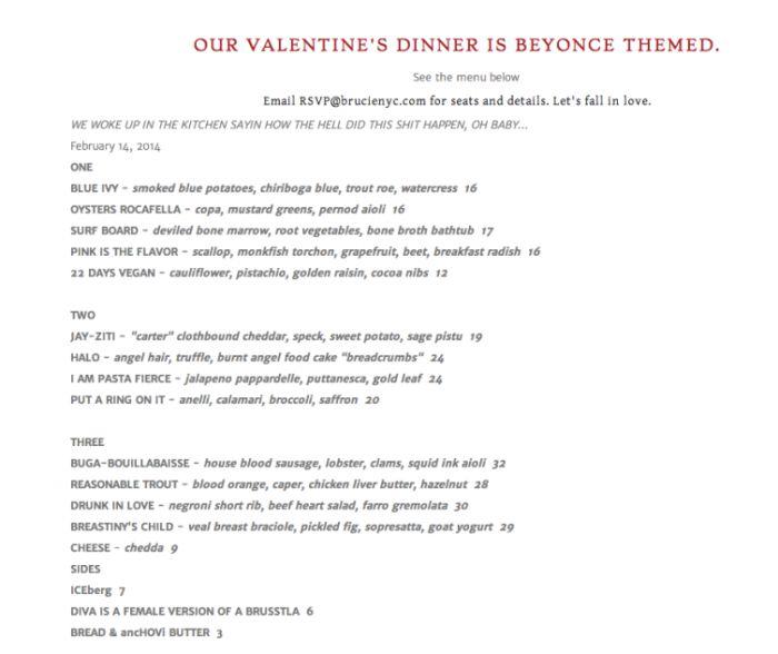 valentine's day menu london