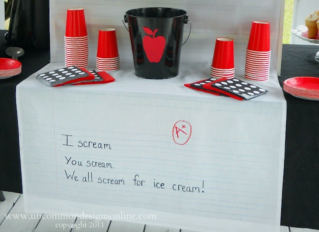 Ice cream table for back to school party