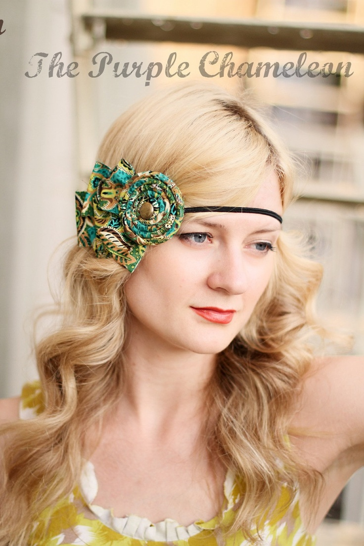 Nakea Headband in Paisley of Turquoise and by ThePurpleChameleon