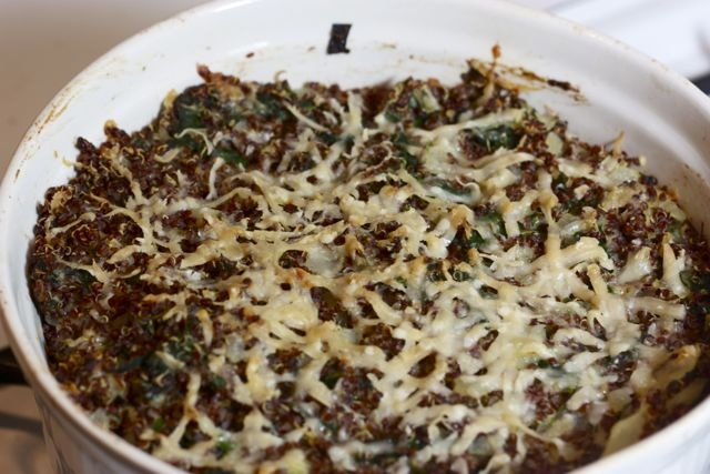 ... Quinoa with Spinach & Cheese- extra garlic, double spinach, and