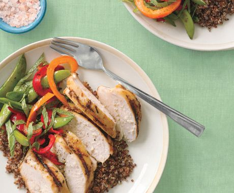 Grilled lemongrass chicken with quinoa, sugar snap peas and red pepper ...