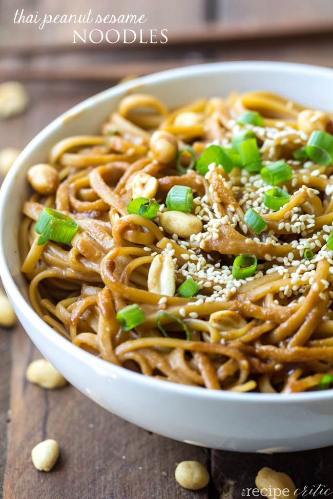 Thai Peanut Sesame Noodles are such a simple dish but packed with so ...