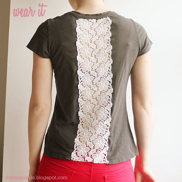 The Forge: {she made it} vintage lace inset t-shirt