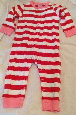 White pink sleeper playsuit sz 6 12 months full snap both legs ebay