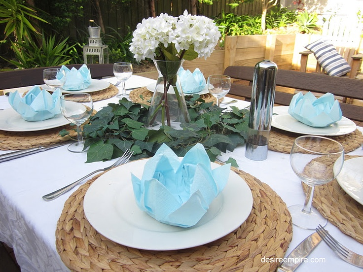 Lotus Serviette Folding :   Blue and White Tablescape and How to Fold a Lotus Flower Napkin