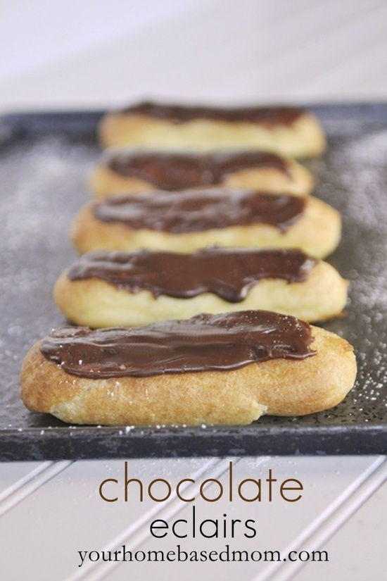 ... chocolate topping and the pastry chocolate eclairs double chocolate