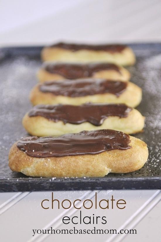 chocolate eclairs | Cream Cakes | Pinterest