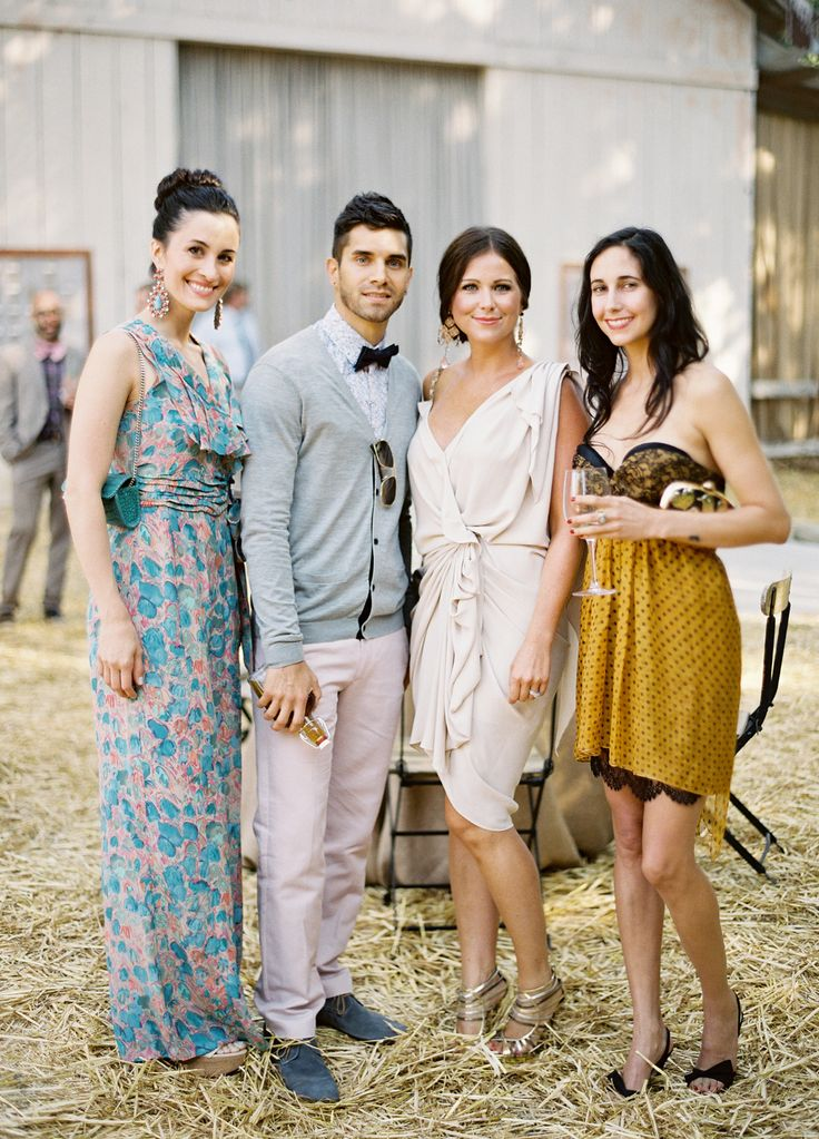 Stylish guests rustic elegance at dos pueblos ranch for Dresses to wear as a guest at a wedding