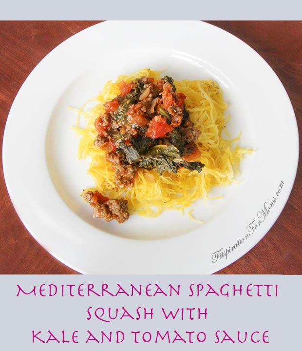 Mediterranean Spaghetti Squash with Kale and Tomato Sauce pinnable