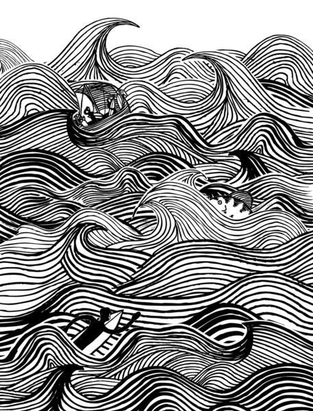 Uses Of Line In Art : Heavy surf art print the deep pinterest