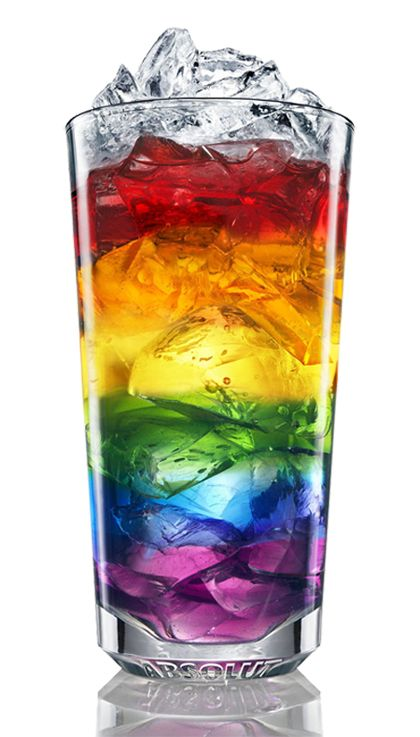 Rainbow Drink. Freeze colored ice, add to glass in layers. Fill glass with 7 Up or Sprite